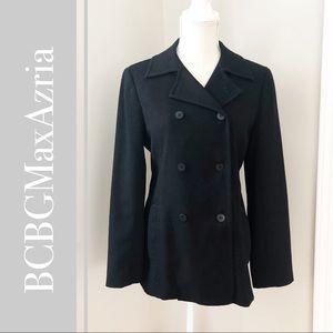 BCBGMAXAZRIA Double Breasted Black Pea Coat Jacket